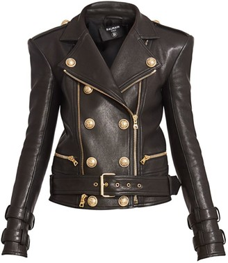 Balmain Perfecto Six Button Leather Motorcycle Jacket