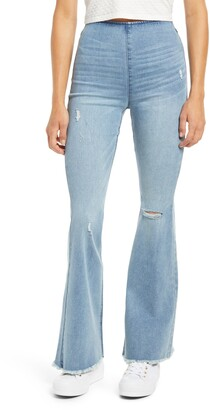 Tinsel Fray Hem High Waist Flare Pull-On Jeans