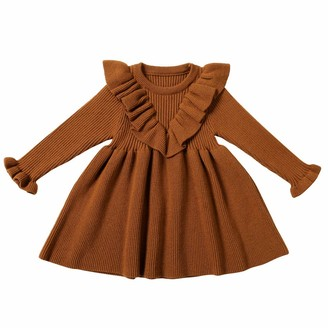 Weilov Baby Solid Tops Skirt Knit Crochet Sweater Dress Clothes Girls Sweater Skirt Long Sleeve Ruffle Collar Spring Autumn Knit Dress for Daily Pink