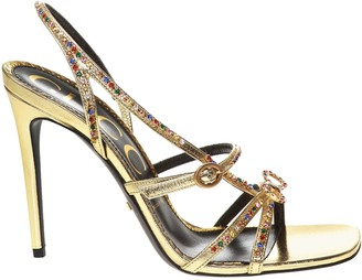 Gucci Gold Multicolored Embellished Sandal