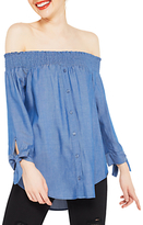 Miss Selfridge Chambray Bardot Button Front Top, Blue