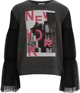 River Island Girls Grey 'New York' mesh sleeve sweatshirt