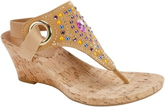 White Mountain Jeweled Thong Wedge Sandals -Adeline