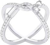 Swarovski Henrietta Cross Ring, White, Rhodium plating