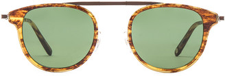 Garrett Leight Van Buren Combo 46 Folding in Pinewood Gold & Pure Green | FWRD