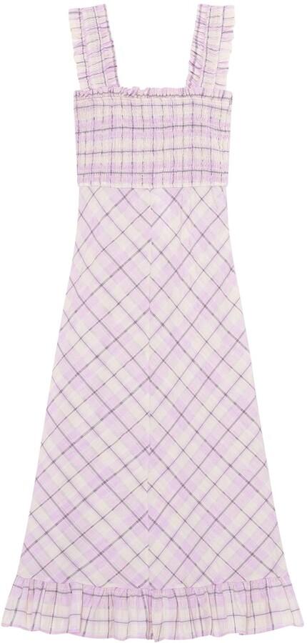 Ganni Check Seersucker Maxi Dress