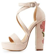 Charlotte Russe Rose Embroidered Platform Sandals