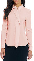 Ivanka Trump Convertible Collar Ruffle Front Long Sleeve Blouse