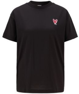 HUGO BOSS Relaxed Fit T Shirt With Heart Embroidery And Swarovski Crystals - Black