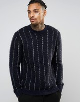 Asos Pinstripe Jumper With Mohair Wool Blend