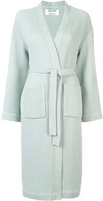 0711 Waffle-Knit Belted Robe