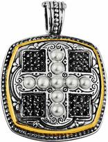 Konstantino Spinel & Pearl Square Cross Pendant Enhancer w/18k