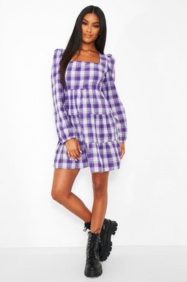 boohoo Check Long Sleeve Tiered Smock Dress