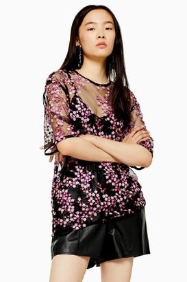 Topshop Womens Mesh Pink Sequin T-Shirt - Pink
