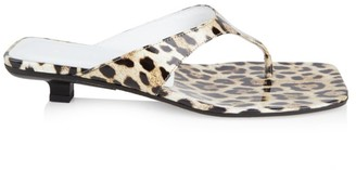 BY FAR Jack Leopard-Print Patent Leather Sandals