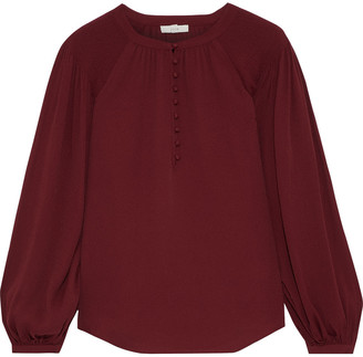 Joie Addalla Shirred Crepe Blouse