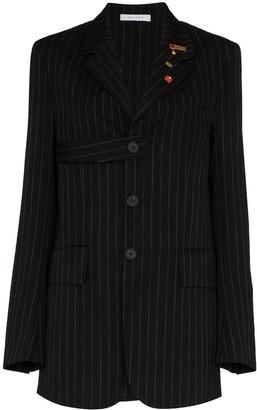 Delada Single-Breasted Chalk-Striped Wool Blazer