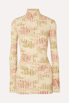 Paco Rabanne Floral-print Ribbed Cotton-blend Turtleneck Top - Ivory