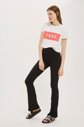 Topshop Womens Tall Skinny Ribbed Flared Trousers - Black