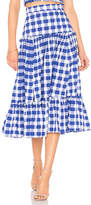 MDS Stripes Tiered Ruffle Skirt