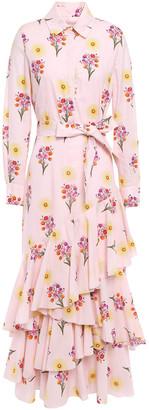 Borgo de Nor Aurora Tiered Floral-print Cotton-mousseline Maxi Dress