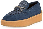 Stella McCartney Brody Woven Denim Loafer, Dark Blue