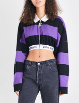 Palm Angels Striped cotton-jersey polo top