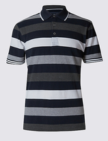 Blue Harbour Pure Cotton Block Stripe Polo Shirt