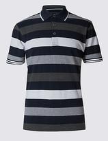 Blue Harbour Pure Cotton Block Striped Polo Shirt