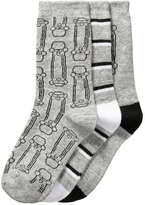 Joe Fresh Kid Boys' 3 Pack Skateboard Print Socks, Grey (Size 3-6)