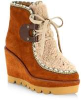 See by Chloe Klaudia Shearling & Suede Wedge Booties