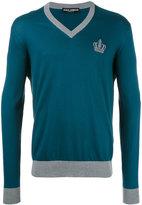 Dolce & Gabbana crown logo V-neck jumper - men - Cotton - 54
