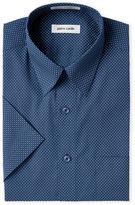 Pierre Cardin Blue Geo-Print Short Sleeve Dress Shirt