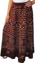 Maple Clothing Women Batik Printed Cotton Long Skirt India Clothing (Maroon)