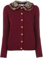 Blumarine trimmed neck cardigan - women - Mink Fur/Polyester/Acetate/Marmot Fur - 42