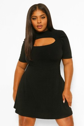 boohoo Plus Soft Rib Cut Out Skater Dress