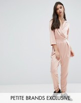 Alter Petite Plunge Neck Tailored Jumpsuit With Tie Detail