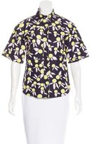 Jil Sander Navy Floral Print Short Sleeve Top