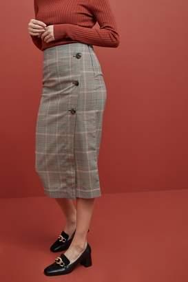 Next Womens Neutral Midi Wrap Pencil Skirt - Cream