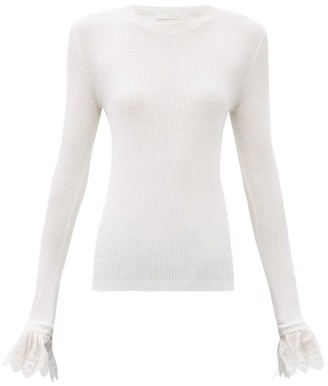 Chloé Fluted-cuff Wool Sweater - White