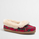 J.Crew Factory Plaid shearling foldover fireside slippers