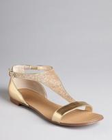 Boutique 9 T Strap Metallic Flat Sandals - Piraya