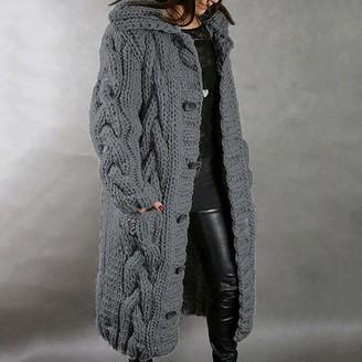YFDYG Cardigan Solid Color Dark Gray Sweater Ladies Long Sleeves Knitting Pocket Pocket Single Breasted Sweater Overcoat