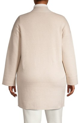 Joan Vass, Plus Size Knit Sweater Cardigan