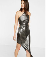 Express metallic side cut-out asymmetrical dress