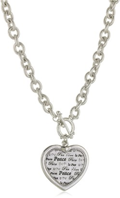 1928 Jewelry Silver-Tone Heart Peace Medallion Necklace