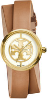 Tory Burch Women's Swiss Reva Light Brown Leather Wrap Strap Watch 28mm TRB4018