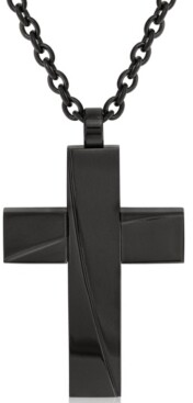 Sutton by Rhona Sutton Sutton Black Stainless Steel Stripe Cross Pendant Necklace