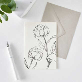 The White Company Peony Flower Outline Card, White, One Size