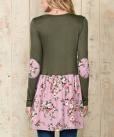 Celeste Olive & Pink Floral Ruffle Tunic